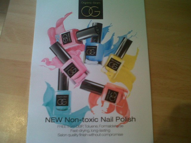 Organic Glam new non-toxic nail polishes poster