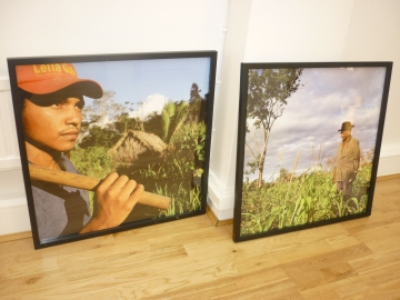 Artwork of the Veja rubber tappers in the Amazon