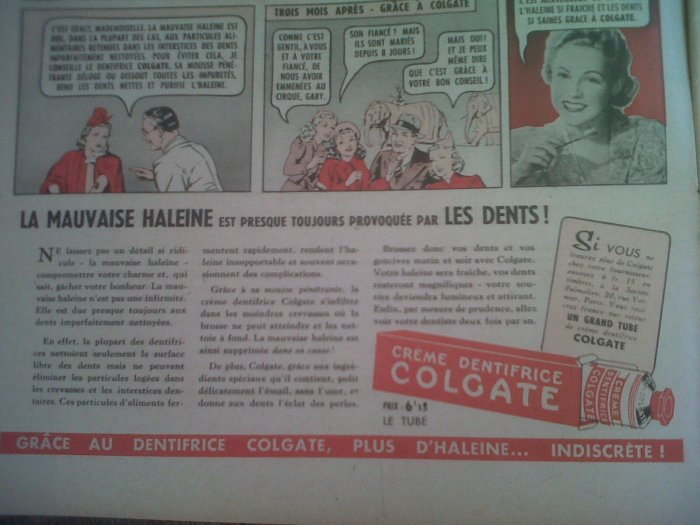 Colgate advert, Marie Claire 1940