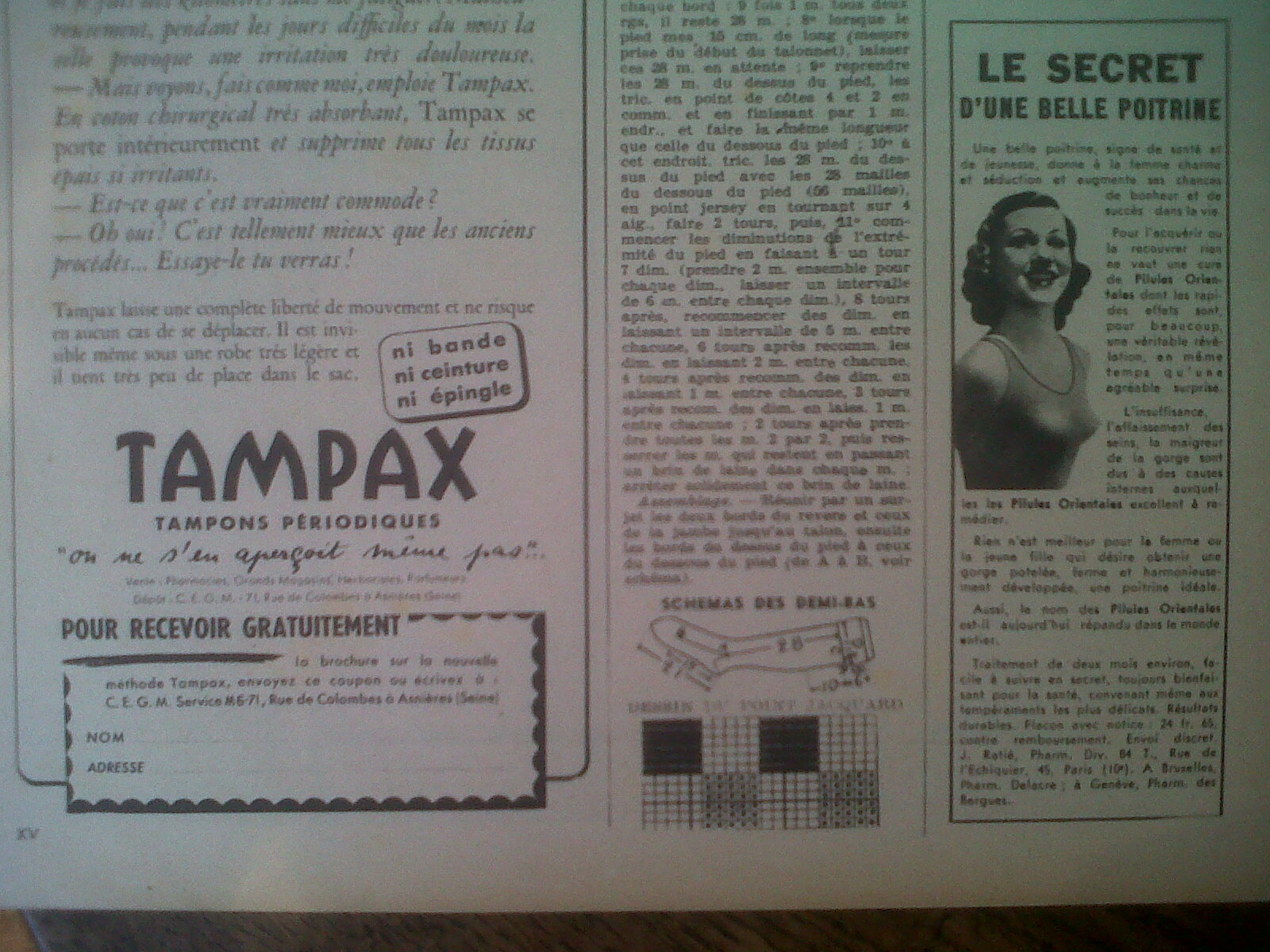 Tampax advert, Marie Claire 1940