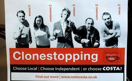 Totnes Costa coffee Clonestopping poster