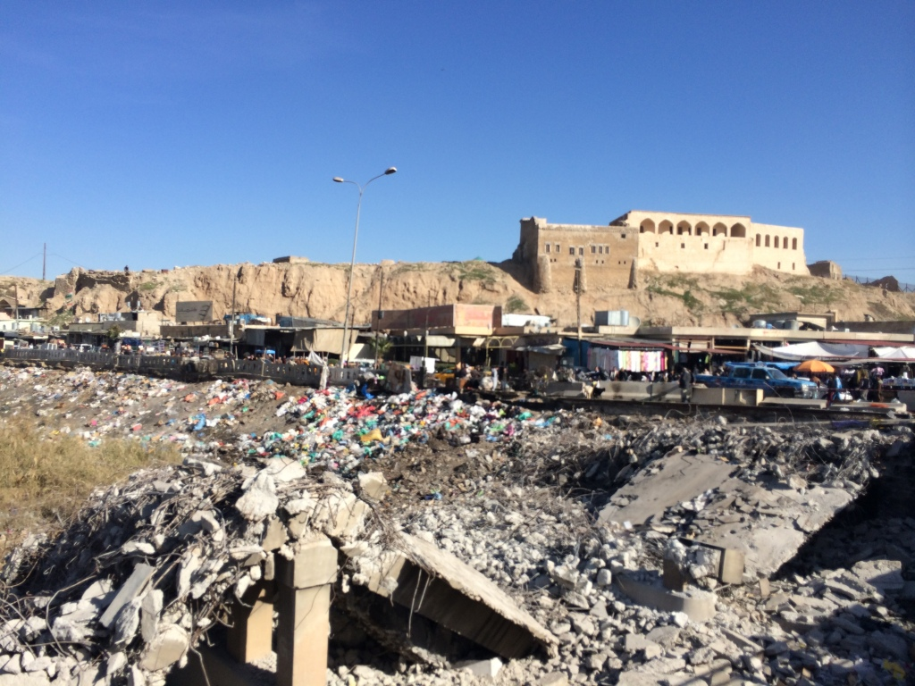 Citadel, market and demolished bridge in Kirkuk, Iraq